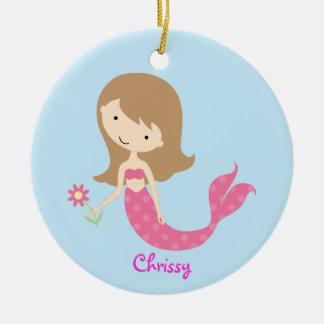 KRW Cute Pink Mermaid Custom Ornament