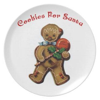KRW Cute Retro Gingerbread Man Santa Cookie Plate