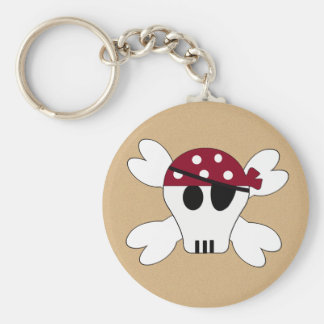 KRW Cute Skull and Crossbones Pirate Birthday Basic Round Button Key Ring