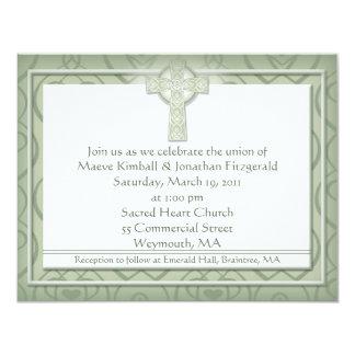 KRW Elegant Celtic Cross Irish Wedding 11 Cm X 14 Cm Invitation Card