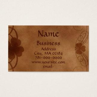 KRW Elegant Celtic Shamrock Parchment Custom Business Card