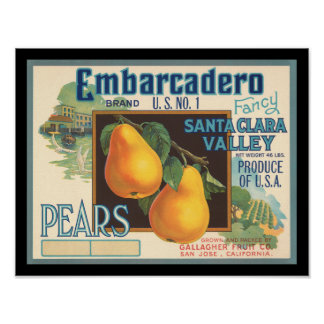 KRW Embarcadero Pears Vintage Crate Label Poster