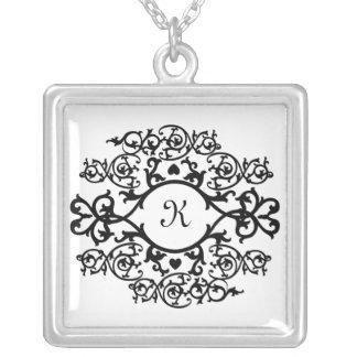 KRW Fancy Scroll Frame Monogram Silver Necklace