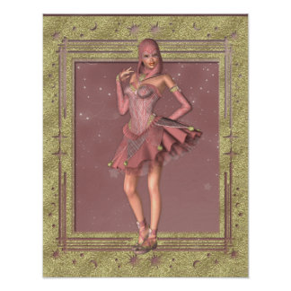 KRW Fantasy Jester in Pink and Gold Poster