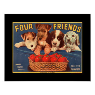 KRW Four Friends Vintage Tomato Crate Label Poster