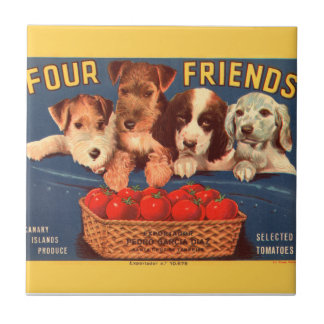 KRW Four Friends Vintage Tomato Crate Label Tile