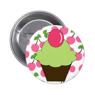KRW Fun Green Cupcake with Cherries 6 Cm Round Badge