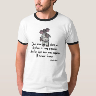 KRW Funny Elephant in Pajamas Groucho Marx Quote T-Shirt