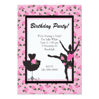 "KRW Girls Ballet Rose Birthday Party Invitation 5"" X 7"" Invitation Card"