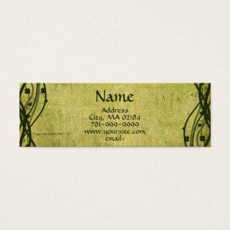 KRW Green Celtic Shamrock Parchment Custom Mini Business Card