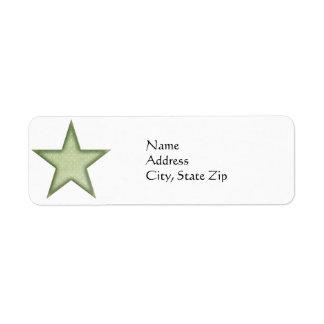 KRW Green Christmas Star Return Address Label
