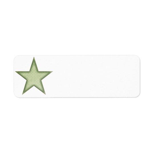 KRW Green Christmas Star Small Blank Label Return Address Label