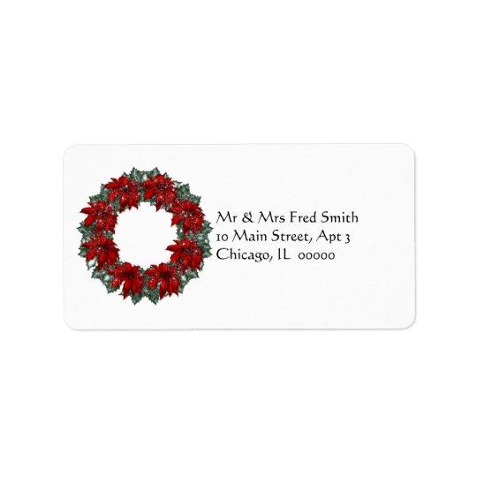 KRW Happy Holidays Wreath Address Label