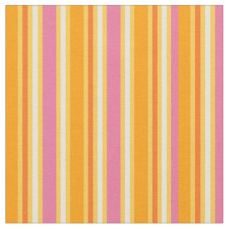 KRW Hot Pink and Orange Stripes Fabric