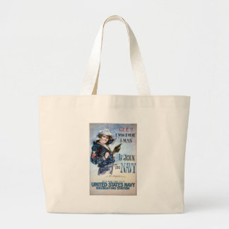 KRW I Wish I Were a Man Vintage Poster Large Tote Bag