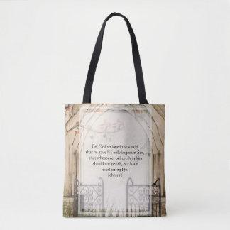 KRW Inspirational John 3:16 Bible Verse Tote Bag