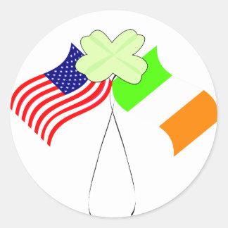 KRW Irish American Flags and Shamrock Classic Round Sticker