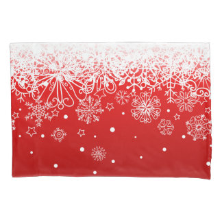 KRW Lacy White Snowflake Christmas Red Pillow Case