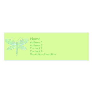 KRW Lemon Lime Dragonfly Profile Card Double-Sided Mini Business Cards (Pack Of 20)