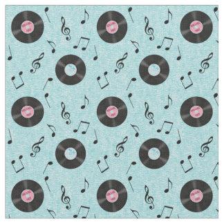 KRW Light Blue Retro Records Music Fabric
