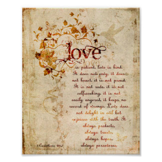 KRW Love is Patient Corinthians Bible Quote Poster