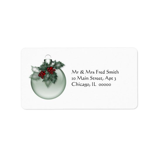 KRW Lovely Xmas Ornament with Holly Address Label