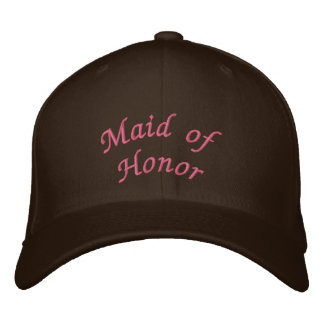 KRW Maid of Honor Script Pink and Brown Embroidered Hat