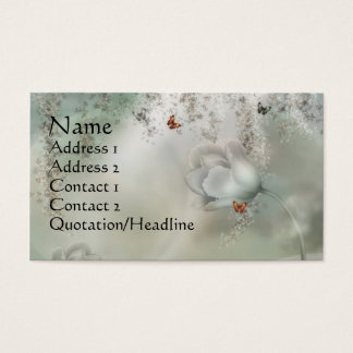 KRW Misty Gray Floral with Orange Butterflies Business Card
