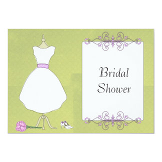 KRW Modern Wedding Dress Bridal Shower 5x7 Paper Invitation Card