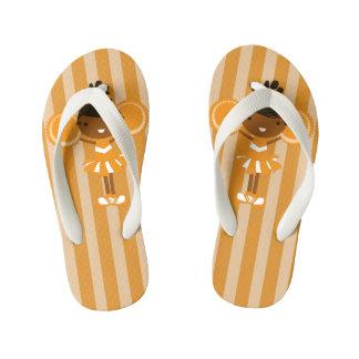 KRW Orange Cheerleader Party Kids Flip Flops Thongs