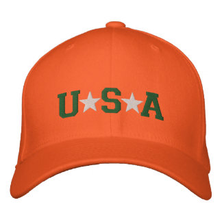 KRW Orange Green and White USA Stars Embroidered Embroidered Baseball Caps