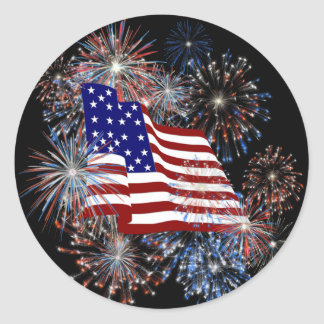 KRW Patriotic American Flag and Fireworks Round Stickers