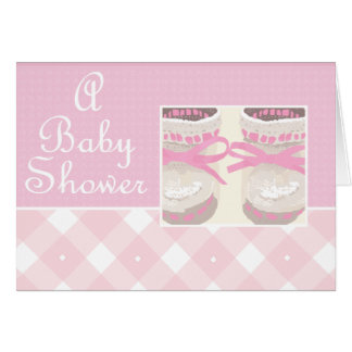 KRW Pink Booties Custom Baby Shower Invitation