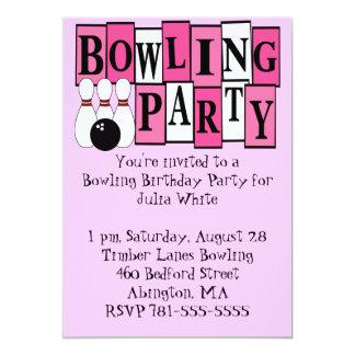 KRW Pink Bowling Birthday Party 13 Cm X 18 Cm Invitation Card