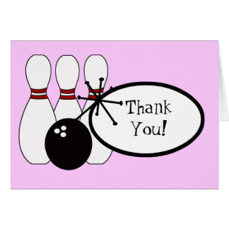 KRW Pink Bowling Thank You Card