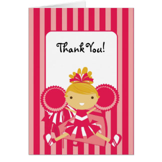 KRW Pink Cheerleader Thank You Note Card