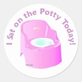 KRW Pink I Sat on the Potty Training Reward Classic Round Sticker