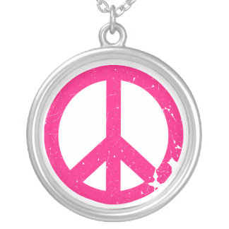 KRW Pink Peace Sign Sterling Silver Necklace