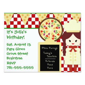 KRW Pizza Party Girl Birthday Party Invitations