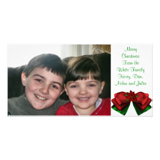 KRW Poinsettia Bow Holiday Custom Photo Card