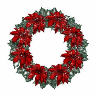 KRW Pointsettia Holiday Wreath Ornament Photo Sculpture Decoration