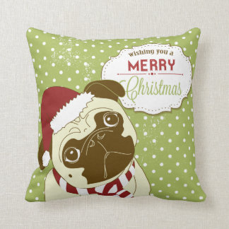 KRW Pug Wish You a Merry Christmas Pillow
