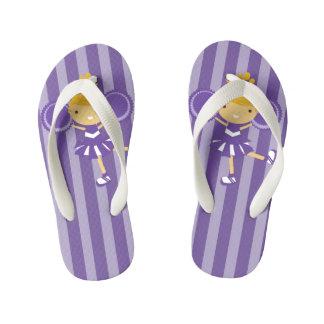 KRW Purple Cheerleader Party Kids Flip Flops Thongs