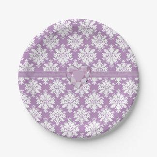 KRW Purple Jewel Heart Paper Plate
