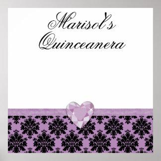 KRW Purple Jewel Heart Quinceanera Autograph Sign