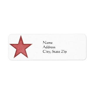 KRW Red Christmas Star Return Address Label