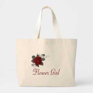 KRW Red Rose Flower Girl Wedding Tote Jumbo Tote Bag