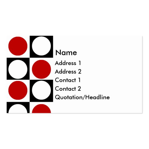 KRW Retro Red White and Black Squares and Circles Business Card Template