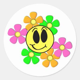 KRW Retro Smilie Face and Neon Flowers Round Sticker