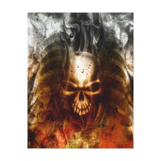 KRW Smoldering Skull Wrapped Canvas Art